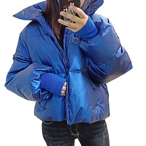 Wholesale Windproof High Collar Parka Winter Jacket Women Fashion Short Loose White Duck Down Coat Plus size Glossy Feather Overcoat Ss062