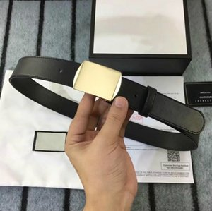 Wholesale ORIGINAL BOX BELT high quality man belt real leahter with gold buckle fashion casual brand Trademark design waist belts for men women belt