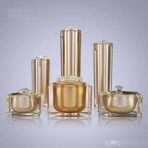 15g 30g 50g 30ml 50ml 100ml Empty Gold Square Shape Acrylic Lotion Cream Pump Bottle Cosmetic Container Luxury Bow cream jar