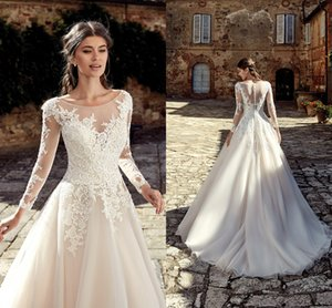 2019 Elegant Country Long Sleeves Wedding Dresses Lace Appliqued A Line Tulle Long Bridal Gowns Cheap Custom Made BC0936