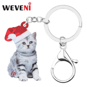 Wholesale WEVENI Acrylic Christmas Hat Short Hair Cat Kitten Key chains Key Ring Bag Car Wallet Keychains For Women Girls Decoration Gifts
