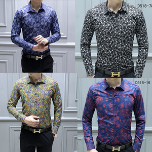 NEW Fashion Designer Slim Fit Shirts Men Black Gold Floral Print Mens Dress Shirts Long Sleeved Business Casual Shirts Males Clothes on Sale