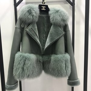 Wholesale 7 Colors Autumn Winter Warm Real Fur Coat Women With Real Fox Fur Trim Genuine Suede Leather jackets