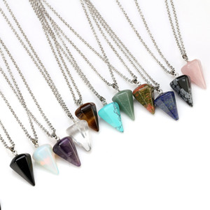 Wholesale Hexagon Prism Necklace Natural Gemstone Pendant Crystal Healing Chakra Halo Silverstone Jewelry Necklace Elegant Exquisite Accessories