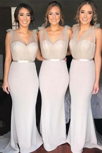 Light Grey Mermaid 2020 Bridesmaid Dresses Cheap V neck Tulle Satin Backless Wedding Guest Prom Formal party Dress Wholesale Price