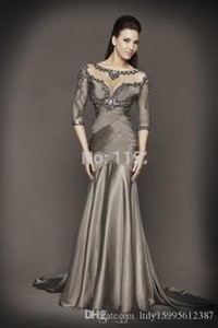 2019 Sexy Backless Sheer Grey Evening Dresses 3 4 Sleeves Beaded Crystal Mermaid Chiffon Formal Dress 215 on Sale