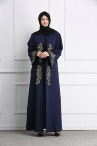 Moroccan Caftan Evening Dresses Navy Blue Muslim Evening Gowns Long Sleeves Appliques Formal Dress Elegant 2019 Prom Dresses Dubai Abaya on Sale