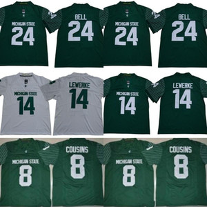 ingrosso spartani-2019 Mens Michigan State Spartans NCAA Brian Lewerke Jersey Kirk Cousins LeVeon Bell College Maglia da calcio Green White Home Away