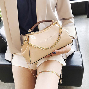 Wholesale Bag For Women New Summer Candy Color Red Pink Patent Leather Handbag Shoulder Crossbody Bag Chain Nude Evening Clutch Solid