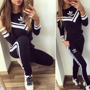 Wholesale 2019 neo Women Sportswear Hoodies Print Sweatshirt Pants Two piece Set Women Jogging Sport Suit for Yoga wear