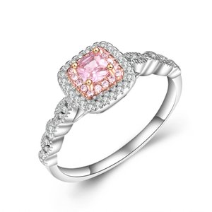 Wholesale Pink color diamond gold plated gold micro inlay simulation diamond ring square diamond princess ladies ball side female ring