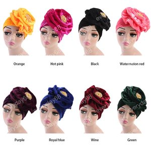Hot Sell Muslim Women Velvet Flower Brooch Turban Hats Chemo Beanies Cap Bandana Hijab Pleated Wrap Head Cover Hair Loss Accessories