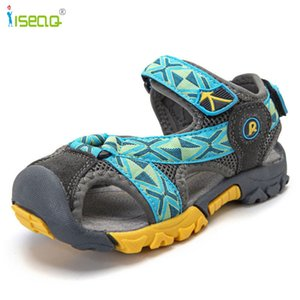 Children Boys Sandals Summer Shoes Boys Genuine Leather Cut-outs Kids Canvas Rain Soft Sole Sandals Breathable Flats Shoes Y19062001 on Sale
