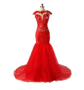 Red Mature Sexy Beaded BeiJing Fashion Evening Dress Made in China High quality DuBai Trumpet Mermaid Gowns Evening Dress for Women