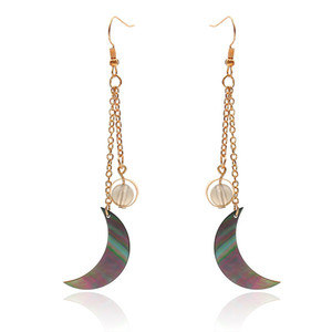 Wholesale Natural Sea Shell Moon Style Drop Earrings For Women Fashion Ball Beads Long Tassel Boho Earrings Femme European Jewellery B1272