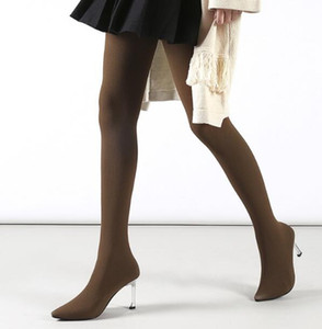 Hot Spring New Brand Woman Black Gray Burgundy Brown 8 cm Thin Heels Elastic Pointed Toe Sexy Pantyhose boots Big Size 43 Lady
