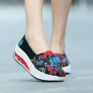 Wholesale birds shoes for sale - Group buy New National Wind With Buckle Flower Bird Round Head Wedges Cover Heel Canvas Embroidered Shoes Floral Outside Summer Slip ons