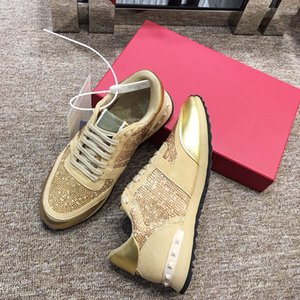Wholesale 2019 new dating artifact designer luxury shoes casual shoes women s nightclub sports shoes advanced materials brown gold black zhuan190513