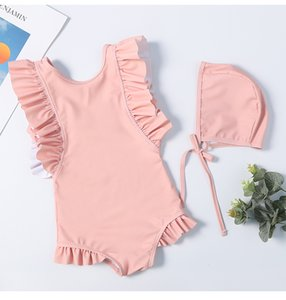 2019 kids swimwear With Caps kid bikini ruffle designer swimsuit Girls Clothes Korean Cute Beach Wear One-Pieces bathing suits on Sale