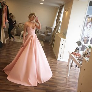 Wholesale 2019 Women Strapless Deep V Neck Full Length Pink Taffeta New Evening Dress Modern Prom Dress For Formal Occasion Party Hand made Plus Size