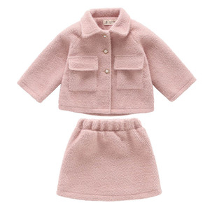Wholesale New Autumn Winter woolen girls suits fashion kids outfits kids designer clothes girls coat jacket skirts big girls clothes A9008