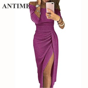 Wholesale ANTIME Sequin Long Party Elegant Nice Dress Autumn Casual Women Bodycon Sexy Slit Long Sleeve Off Shoulder Black Pleated Dresses