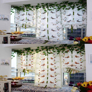 Wholesale Butterfly Tulle Curtain yarn Roman Curtains for living room Bedroom balcony lifting Rope Fan curtain cotton with embroidery