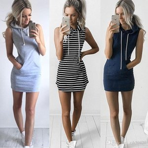Wholesale European and American women s striped sleeveless hooded skirt sexy bohemian summer hooded tight fitting sleeveless sexy party mini dress