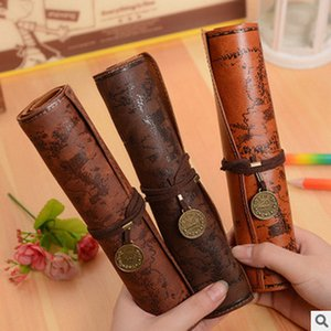 Wholesale Antique Nautical Treasure Map Stationery Gift Fashion Roll Pencil Case Big Capacity Pencil Bag Faux Leather Pen Boxes Free Ship
