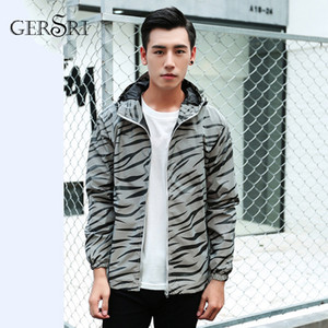 Wholesale Gersri Reflective zebra stripe casual double layer trench Jacket coat men student couple jacket youth class spring autumn