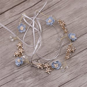 Wholesale Lovely Flower Blue Pink Handmade Yarn Jewelry Bendable Soft Chain Tiara Brides Headbands Wedding Hair Accessories Y19051302