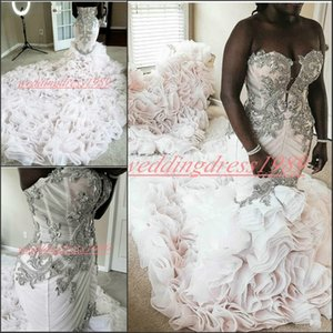 Wholesale Glamorous Mermaid Cascading Ruffles Crystal Wedding Dresses Organza Tiered African Vestido de novia Beaded Plus Size Bride Bridal Gown