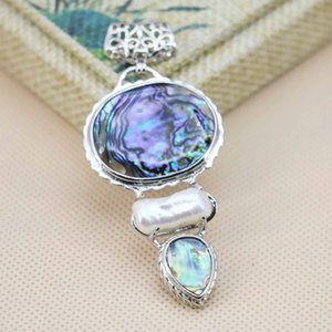 Wholesale 32x59mm Accessories Series Abalone Seashell Sea Shell Pendant Embroider Crafts Jewelry Making Diy