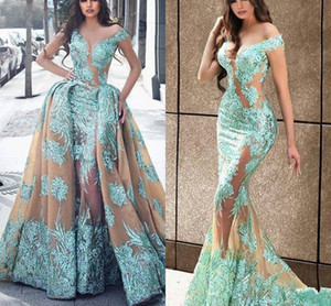 Champagne Haute Couture Overskirt Mermaid Evening Dresses with Detachable Train Illusion Lace Appliques Long Prom Dress Robe de soiree on Sale