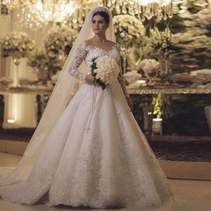 Wholesale Vintage White Appliques Ball Gown Wedding Dresses Long Sleeves Sheer Neck Bow Tie Belt Church Wedding Gown vestidos de novia Plus Size