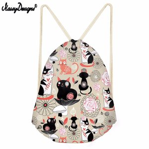 Wholesale Noisydesigns Drawstring Bag Cat Pattern Travel Sport Bags Summer Cool Print Small Backpack for Teenager Boy Girls Soft Backpack