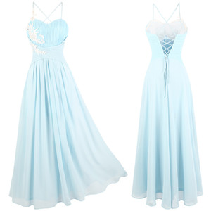 Wholesale Angel-fashions Chiffon A-Line Party Dress Appliques Flower Spaghetti Strap Pleated Lace Up Long Bridesmaid Formal Gown Light Blue 447