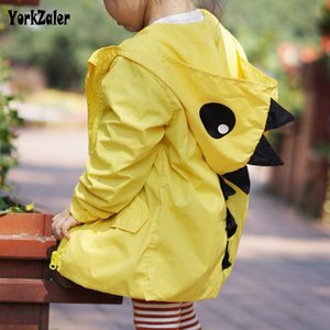 Wholesale Yorkzaler Spring Autumn Kids Windbreaker For Girl Boy Cartoon Dinosaur Children Jacket Hooded Coats Casual Toddler Baby Outfits SH190912