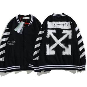 2020 new OFF WHITE arrow black baseball uniform jacket men and women couple sweater jacket fashion casual top