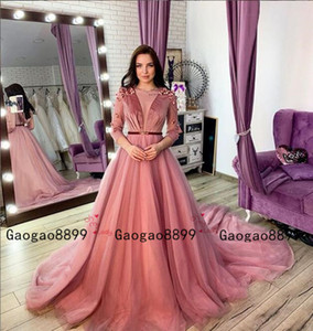 Wholesale 2019 Velvet Caftan karakou algerien evening Formal Dresses with 3d Lace flower Long Sleeve tulle beaded Peplum Occasion Evening Gown Wear