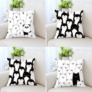 Wholesale Cute Cartoon Cushion Black And White Prints Bear Puppy Dog Penguin Animals Plush Decorative Pillows For Kids Room Decoration