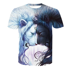 Wholesale Men T shirt Sun Moon Lovers Lion D Full Printed Man Graphic Tee Shirt Casual Tops Unisex Short Sleeves Tees T Shirts Blouse RT