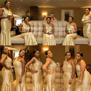 Wholesale Cheap light gold Nigerian lace Mermaid Bridesmaid Dresses 2019 New One Shoulder taffeta trumpet floor length Long Maid of Honor Gowns