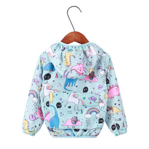 girls Unicorn rainbow print hooded Jackets Spring baby coat children cartoon Windbreaker outwear coat infant toddler clothing kids clothes on Sale
