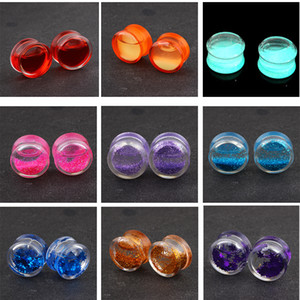 60pcs Acrylic Liquid Blood Floating Glitter Star Ear Plug Gauge Piercing Earring Expander Stretcher Flesh Tunnel 6-16mm