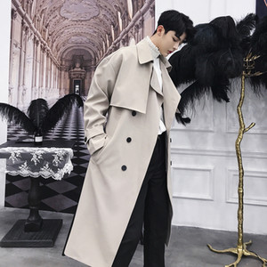 Autumn winter men fashion vintage double breasted long trench coat Korean style overcoat men casual loose long jacket overcoat
