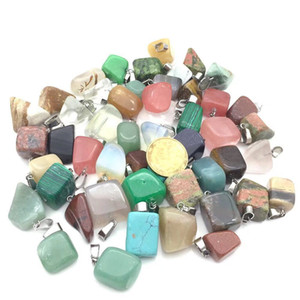 Wholesale crystals for healing for sale - Group buy Irregular Shape Stone Pendant Healing Crystal Quartz Charms Gems Gemstone Mutil Random for Necklace Jewelry Making
