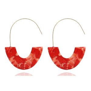 Wholesale Women Fashion Geometric U Shape Hoop Casual Straw Hook Earrings White Red