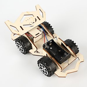 Wholesale Creative electric wooden racing car pupils science and technology small production invention assembly Science Experiment Toy DIY Manual