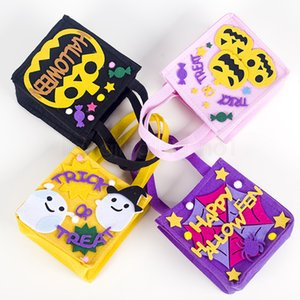 4styles Halloween Candy Bag Non-woven Fabric Portable Handbags Happy Halloween Basket Treat or Trick Candy Gift Bags favor FFA2895-1